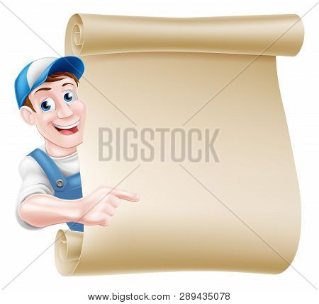 Pointing Cartoon Mechanic, Plumber, Handyman, Decorator Or Gardener Leaning Around A Scroll And Poin