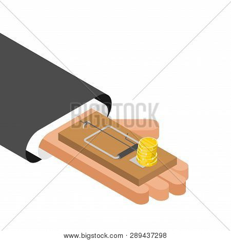 Mousetrap And Money. Mouse Trap And Gold Coin. Concept Business Deception