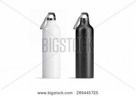 Blank Black And White Metal Sport Bottle Mockup Set, Isolated, 3d Rendering. Empty Steel Botle Mock