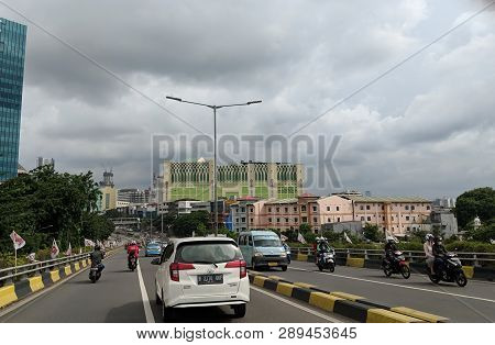 Jakarta, Indonesia - March 1, 2019: Traffic On Jatibaru Flyover In Tanah Abang District.