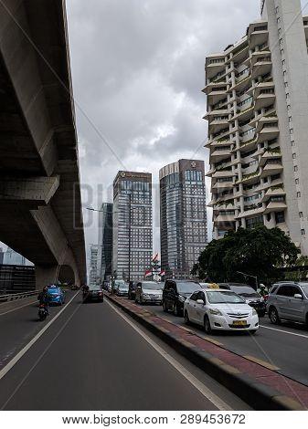 Jakarta, Indonesia - March 1, 2019: Traffic On Karet Flyover In Semanggi District.