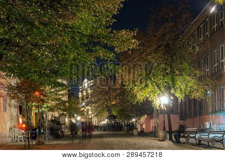 Belgrade, Serbia - November 10, 2018: Night Photo Of Skadarlija District In Old Town In The Center O