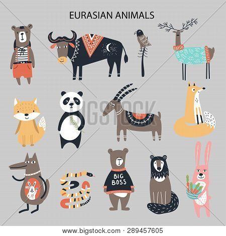 Set Of Diferent Cartoon Eurasian Animals. Cute Handdrawn Kids Clip Art Collection. Vector Illustrati