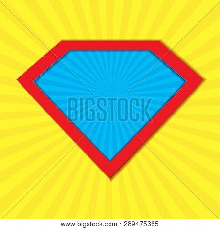 Superhero Badge Logo. Super Hero Shield Man Icon Symbol Of Power. Vector Illustration