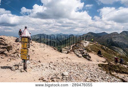 Zuberec, Slovakia - 8-19-2017: Beautiful Summer Day On Volovec Mountain Peak In Zapadne Tatry Mounta