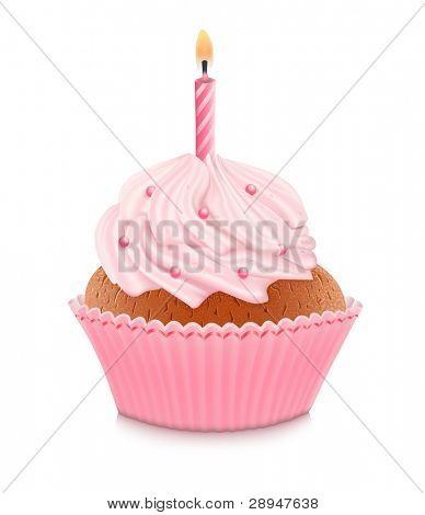 Pink birthday cupcake with burning candle