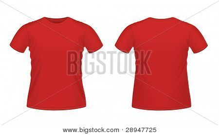 Vector illustration of red men's T-shirt isolated