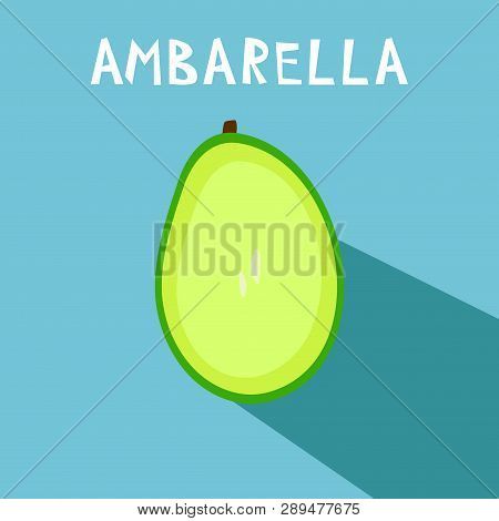 Vector Drawing Of Rare Topucal Exotic Fruit - Ambarella. Spondias Dulcis, Mombin, Pomme Cythere, Pol