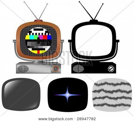 Retro tv with different screens and silhouette.