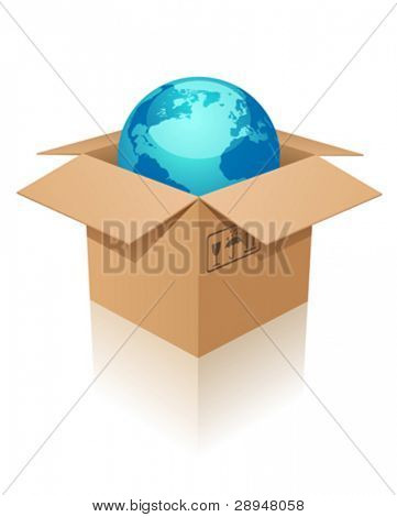 Vector illustration of Earth in a box.
