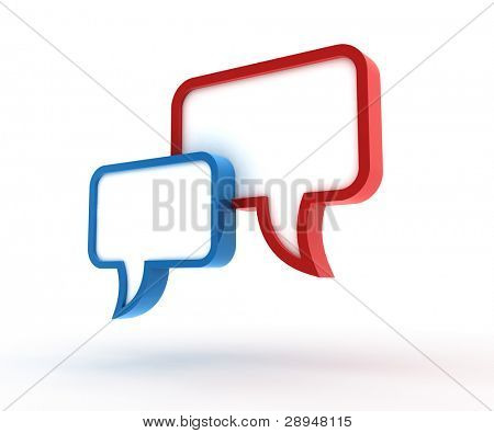Speech bubbles. 3D generated image.