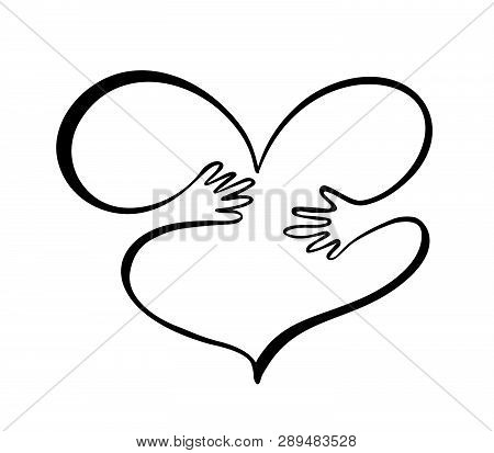 Icon Of Kindness And Charity, Hands And Heart. Hands Hug Heart Symbol Valentines Day. Hand Drawn Gra