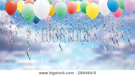 vector horizontal party background with colorful balloons on cloudy sky