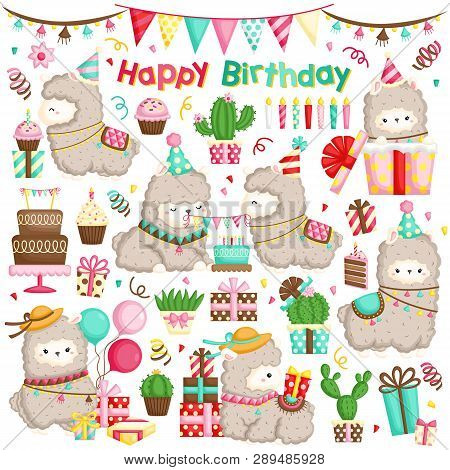 A Vector Set Of Cute Alpaca Celebrating Birthday With Cakes And Many Gifts
