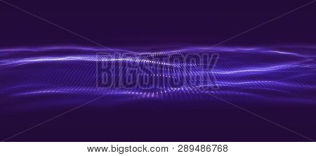 3D Data technology background. Music abstract illustration. Equalizer for music, showing sound waves. 3D Illustration