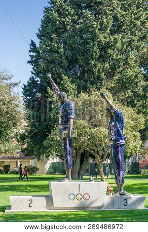 Tommie Smith And John Carlos Statue At San Diego State University
