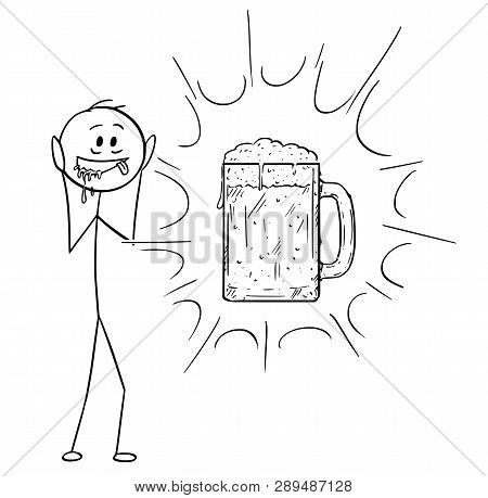 Cartoon Stick Figure Drawing Conceptual Illustration Of Crazy And Thirsty Man Who See Vision Of Glas