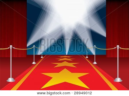 vector red opened stage with stars on red carpet