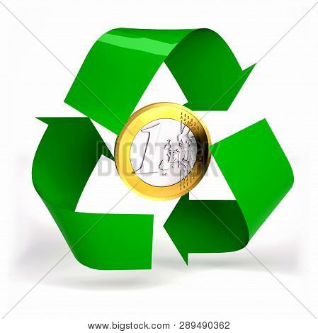 One Euro Coin Inside Symbol Recycle Isolated On White Background, 3d Illustration