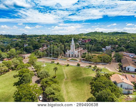 Aerial View Of The Catholic Church Iglesia Virgen De La Candelaria Of Aregua In Paraguay