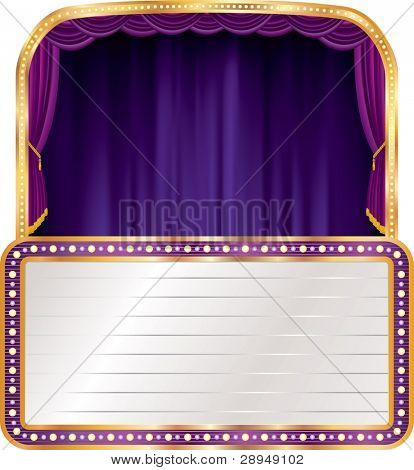 vector purple velvet stage with blank billboard