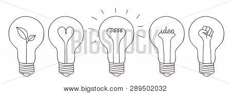 Set Of Five Light Bulbs Showing Different Concept Such As Green Energy, Love, Idea And Revolutionary