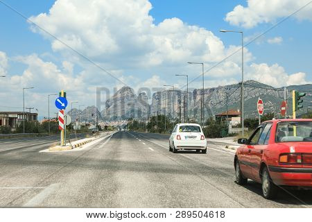 Meteora, Greece - 31 July, 2018: On The Way To The Meteora Eastern Orthodox Monasteries Complex In K