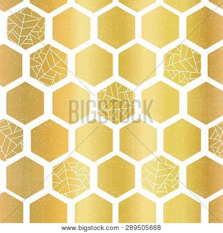 Gold Foil Hexagon Shapes Seamless Vector Pattern. Geometric Golden Hexagons Background With Texture.