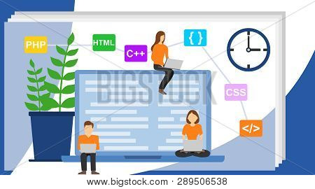 Programmer And Engineering Development Illustration. Programmer At Work Concept. Can Use For Web Ban