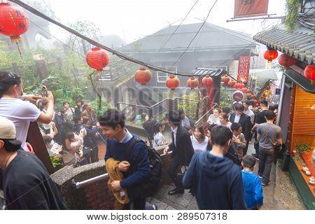 Jiufen, Taiwan - February 18, 2018 : Jiufen Village Old Street Tourist Shopping In Old Japanese Gold