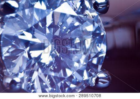 Macro Shot Of Diamond Engagement Ring. Visible Diamond Impurities