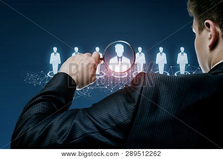 A Businessman Standing Backside Is Looking At The Human Resources Structure Human Figures Models And
