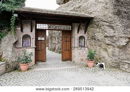 Entrance To The Monastery Of Varlaam Of The Meteora Eastern Orthodox Monasteries Complex In Kalabaka