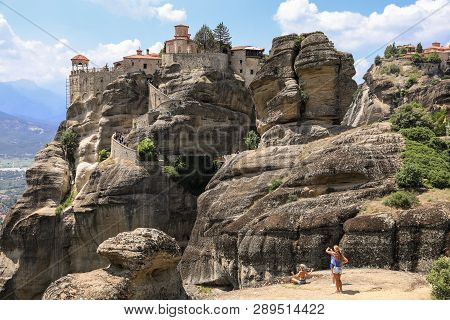 The Monastery Of Varlaam Of The Meteora Eastern Orthodox Monasteries Complex In Kalabaka, Trikala, T