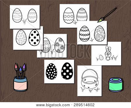 Vector Black And White Easter Egg Poster Separated On Layers. Coloring Book Page For Kids. Illustrat