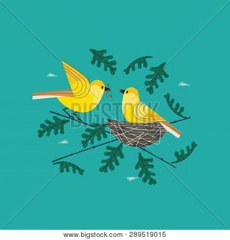 Cute Birds Couple In Nest Icon. Hand Drawn Cartoon. Minimal Simple Design. Male Bird Is Feeding By W