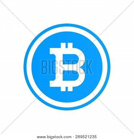 Bitcoin Cripto Currency Blockchain. Bitcoin Flat Logo On Blue Background. Bitcoin Vector Sticker For