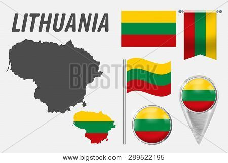 Lithuania. Collection Of Symbols In Colors National Flag On Various Objects Isolated On White Backgr