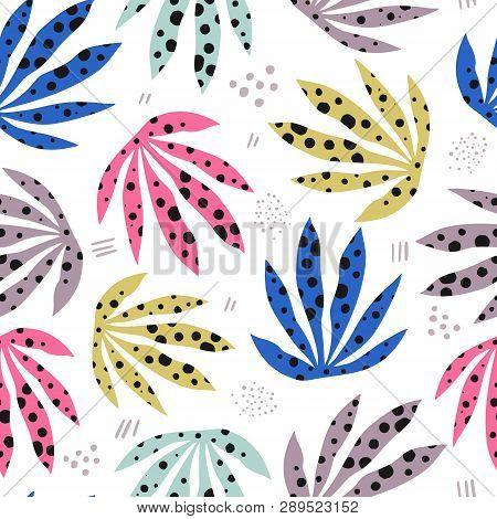 Plants Spotty Leaves Flat Hand Drawn Seamless Pattern. Stylized Marijuana Illustration. Indoor Plant