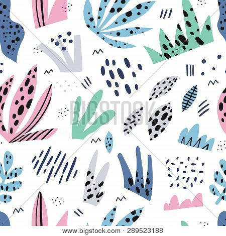 Grass Flat Hand Drawn Seamless Vector Pattern. Herbal Color Background, Backdrop. Outdoor Plants Car