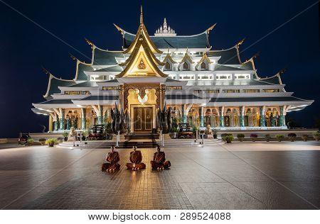 25 February 2017 Wat Pa Phu Kon Udon Thani Thailand : Thai Temple At Night Twilight Blue Sky And Lig