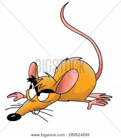 Cartoon Mouse Smelling Floor Watching Around Cautiously Vector Illustration