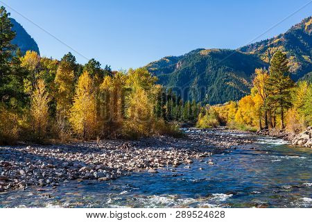 The Crystal River. Autumn Scenery In The Beautiful Rocky Mountains Of Colorado