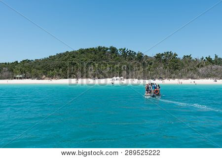 Hamilton Island, Australia - November 7, 2017: Tourists Being Ferried To Beautiful Whitehaven Beach