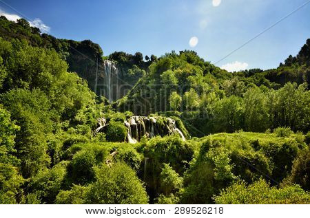 The Cascata delle Marmore (Marmore Falls) is a man-made waterfall created by the ancient Romans located near Terni in Umbria region, Italy. The waters are used to fuel an hydroelectric power plant
