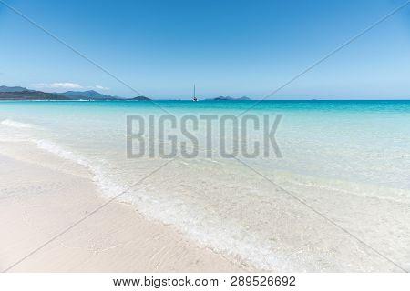 White Silica Sand Beach With Turqoise Water Of Whitehaven Beach, Whitsundays, Australia