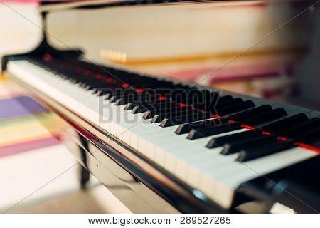 Grand piano keys closeup, nobody