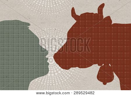 Profile drawn silhouettes - Man with Cow