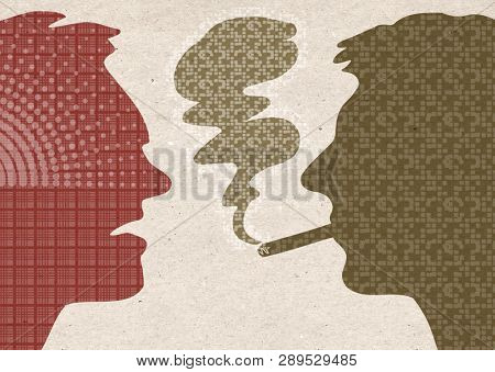 Profile drawn silhouettes - Smoker with angry man
