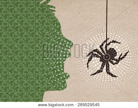 Profile drawn silhouettes - Scared boy with big Spider
